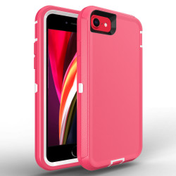 Heavy Duty Armor Robot Case for iPhone SE [2020] / iPhone 8 / 7 (Hot Pink White)