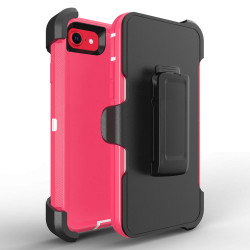 Heavy Duty Armor Robot Case With Clip for iPhone SE [2020] / iPhone 8 / 7 (Hot Pink White)