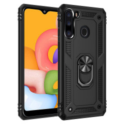 Tech Armor Ring Grip Case with Metal Plate for Samsung Galaxy A21 (Black)