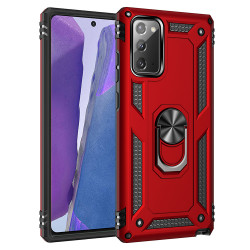 Samsung Galaxy Note 20 Tech Armor Ring Grip Case with Metal Plate (Red)