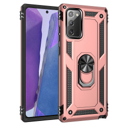 Samsung Galaxy Note 20 Tech Armor Ring Grip Case with Metal Plate (Rose Gold)