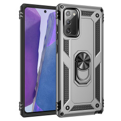 Samsung Galaxy Note 20 Tech Armor Ring Grip Case with Metal Plate (Silver)