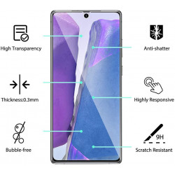 3D Tempered Glass Full Screen Protector with Working Adhesive In Screen Finger Scanner for Galaxy Note 20 (Clear)