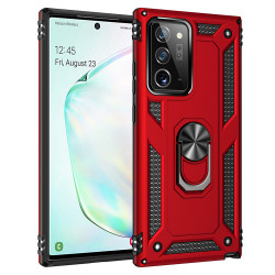 Samsung Galaxy Note 20 Ultra Tech Armor Ring Grip Case with Metal Plate (Red)