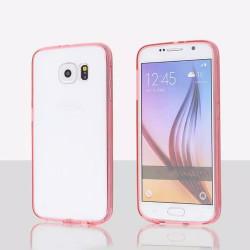 Samsung Galaxy S6 Edge Plus Crystal Clear Gummy Hybrid Case (Hot Pink)