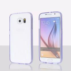Samsung Galaxy S6 Edge Plus Crystal Clear Gummy Hybrid Case (Purple)
