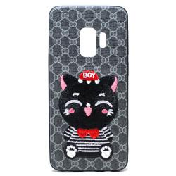 Galaxy S9 Design Cloth Stitch Hybrid Case (Gray Cat)
