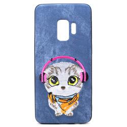 Galaxy S9 Design Cloth Stitch Hybrid Case (Blue Cat)