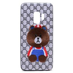 Galaxy S9 Design Cloth Stitch Hybrid Case (Brown Bear)