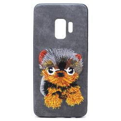 Galaxy S9 Design Cloth Stitch Hybrid Case (Black Dog)