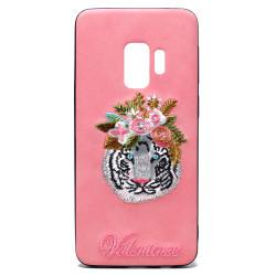 Galaxy S9 Design Cloth Stitch Hybrid Case (Pink Tiger)