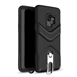 Galaxy S9+ (Plus) Metal Hook Carry Stand Hybrid Case (Black)