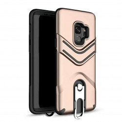 Galaxy S9+ (Plus) Metal Hook Carry Stand Hybrid Case (Rose Gold)