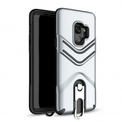 Galaxy S9+ (Plus) Metal Hook Carry Stand Hybrid Case (Silver)