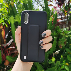 PU Leather Hand Grip Kickstand Case for Samsung Galaxy A21 (Black)