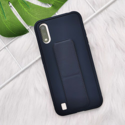 Samsung Galaxy A11 PU Leather Hand Grip Kickstand Case (Navy Blue)