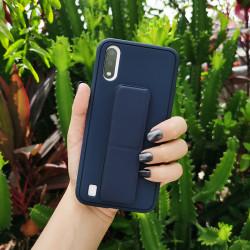 PU Leather Hand Grip Kickstand Case for Samsung Galaxy A21 (Navy Blue)