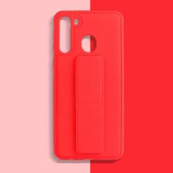 Samsung Galaxy A11 PU Leather Hand Grip Kickstand Case (Red)