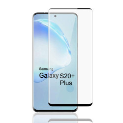 Galaxy S20+ Plus (6.7in) 3D Tempered Glass Full Screen Protector with Working Adhesive In Screen Finger Scanner (Black)