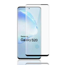 Galaxy S20 (6.2in) 3D Tempered Glass Full Screen Protector with Working Adhesive In Screen Finger Scanner (Black)