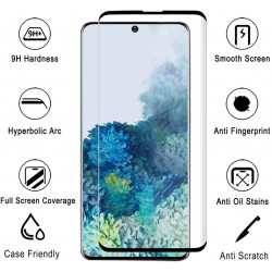 Galaxy S20 [Updated Version] Fingerprint Sensor 3D Glass High Response Case Friendly Full Adhesive Glue Tempered Glass Screen Protector with Installation Kit (Black Edge)