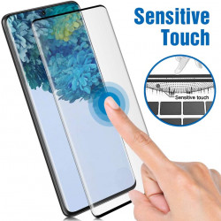 Galaxy S20 Ultra [Updated Version] Fingerprint Sensor 3D Glass High Response Case Friendly Full Adhesive Glue Tempered Glass Screen Protector with Installation Kit (Black Edge)