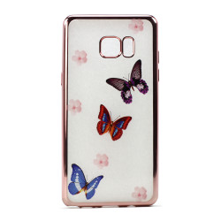 Galaxy Note FE / Note Fan Edition / Note 7 Crystal Clear Rose Gold Design Case (Butterfly)