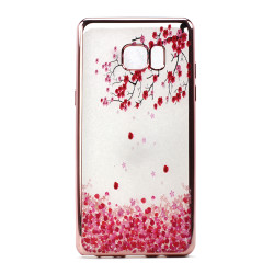 Galaxy Note FE / Note Fan Edition / Note 7 Crystal Clear Rose Gold Design Case (Cherry Blossom)