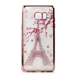 Galaxy Note FE / Note Fan Edition / Note 7 Crystal Clear Rose Gold Design Case (Eiffel Tower)