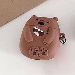 Cute Design Cartoon Silicone Cover Skin for Airpod (1 / 2) Charging Case (Brown Bear)
