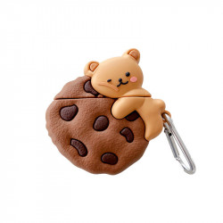 Cute Design Cartoon Silicone Cover Skin for Airpod (1 / 2) Charging Case (Chocolate Chip Cookie Bear)