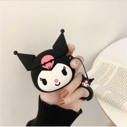 Cute Design Cartoon Silicone Cover Skin for Airpod (1 / 2) Charging Case (Black Kitty)