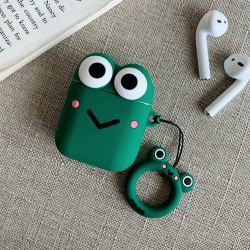 Cute Design Cartoon Silicone Cover Skin for Airpod (1 / 2) Charging Case (Green Frog)