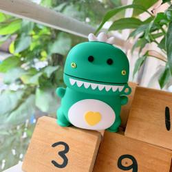 Cute Design Cartoon Silicone Cover Skin for Airpod (1 / 2) Charging Case (Green Dinosaur)