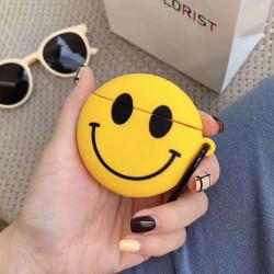 Cute Design Cartoon Silicone Cover Skin for Airpod (1 / 2) Charging Case (Emoji Classic Happy Face)