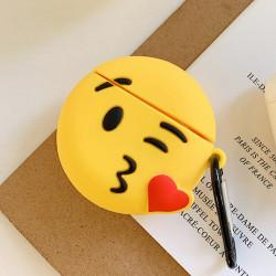 Cute Design Cartoon Silicone Cover Skin for Airpod (1 / 2) Charging Case (Emoji Kiss)