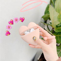 Cute Design Cartoon Silicone Cover Skin for Airpod (1 / 2) Charging Case (Pink Heart)
