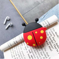 Cute Design Cartoon Silicone Cover Skin for Airpod (1 / 2) Charging Case (Ladybug)
