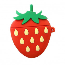 Cute Design Cartoon Silicone Cover Skin for Airpod (1 / 2) Charging Case (Strawberry)
