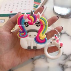 Cute Design Cartoon Silicone Cover Skin for Airpod (1 / 2) Charging Case (Full Unicorn)