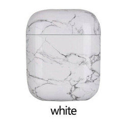 Marble Design Hard Protective Case Cover for Apple Airpods [2 / 1] Charging Case (White)