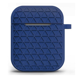 Net Mesh Design Hybrid Protective Case Cover for Apple Airpods 2 / 1 (Navy Blue)