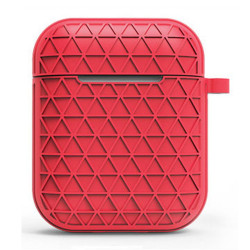 Net Mesh Design Hybrid Protective Case Cover for Apple Airpods 2 / 1 (Red)