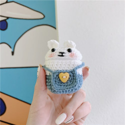 Cute Design Cartoon Handcraft Wool Fabric Cover Skin for Airpod (1 / 2) Charging Case (Bunny Light Blue)