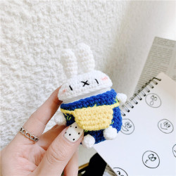 Cute Design Cartoon Handcraft Wool Fabric Cover Skin for Airpod (1 / 2) Charging Case (Bunny Navy Blue)
