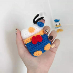 Cute Design Cartoon Handcraft Wool Fabric Cover Skin for Airpod (1 / 2) Charging Case (Donald Suit)