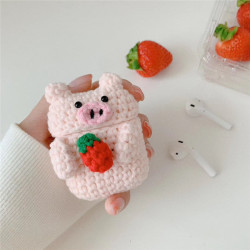 Cute Design Cartoon Handcraft Wool Fabric Cover Skin for Airpod (1 / 2) Charging Case (Strawberry Pig)