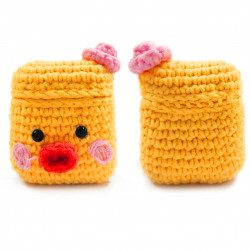Cute Design Cartoon Handcraft Wool Fabric Cover Skin for Airpod (1 / 2) Charging Case (Yellow Chick)