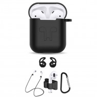 5 in 1 Accessories Kits Silicone Cover with Ear Hook Grips / Staps / Clip / Skin / Tips for Airpods 2 / 1 Charging Case (Black)