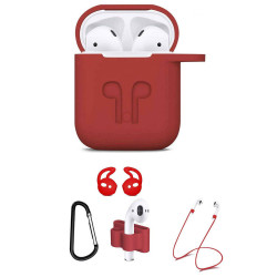 5 in 1 Accessories Kits Silicone Cover with Ear Hook Grips / Staps / Clip / Skin / Tips for Airpods 2 / 1 Charging Case (Red)